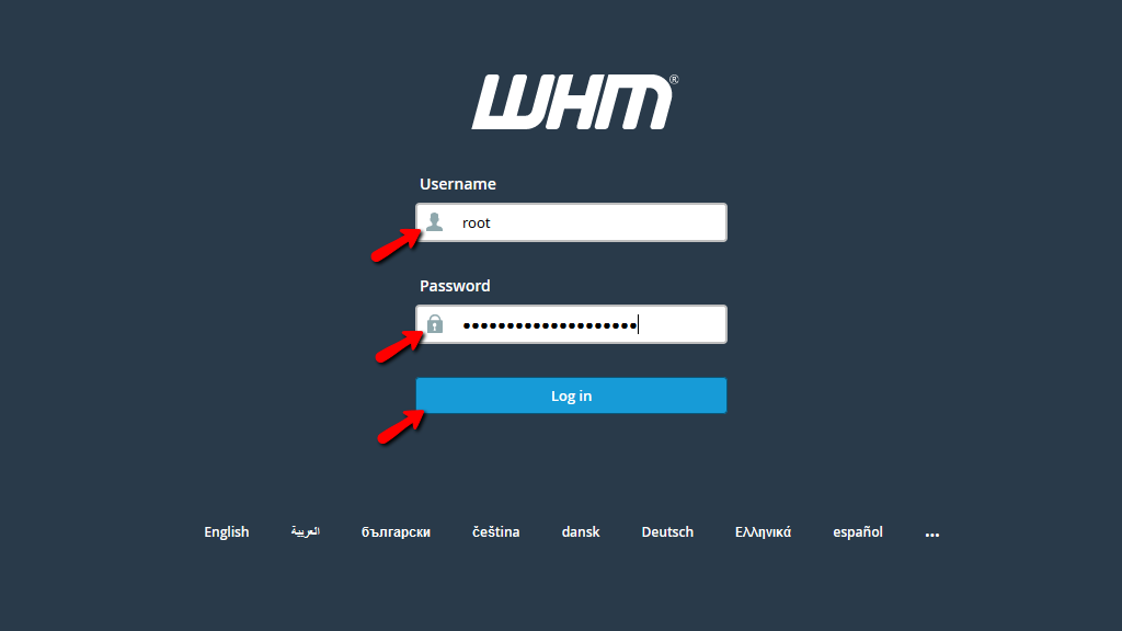 Login to the WHM service