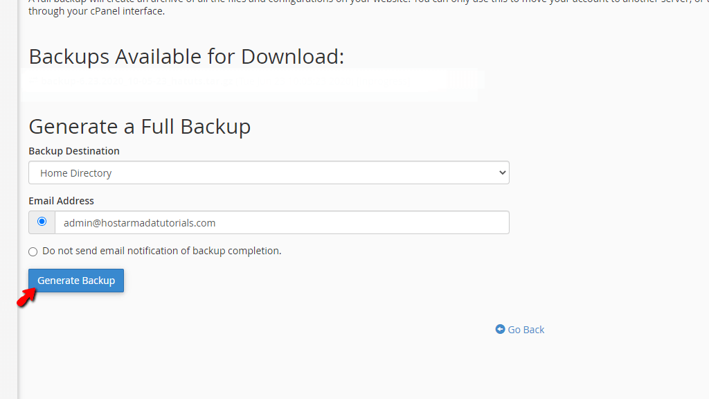 Generate Full cPanel Account Backup