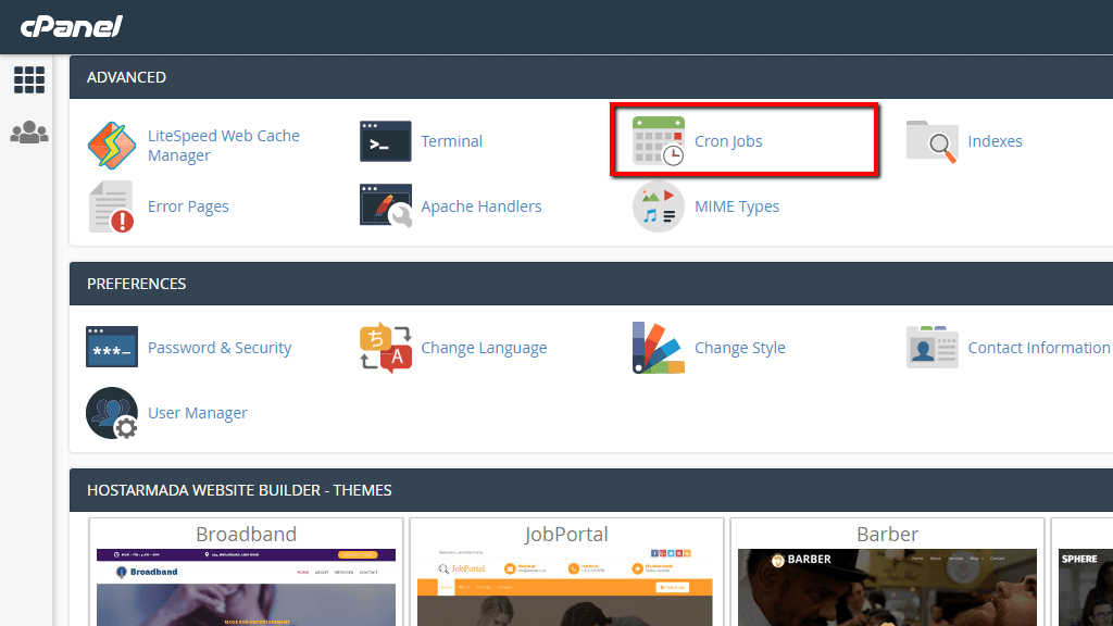 Accessing the Cron Jobs feature in cPanel
