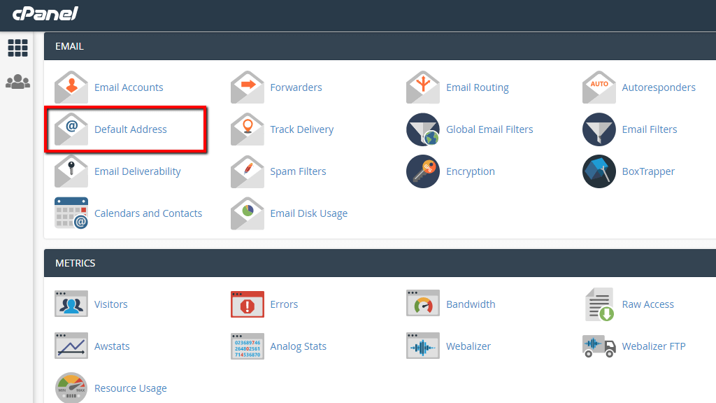 Accessing the Default Address feature in cPanel