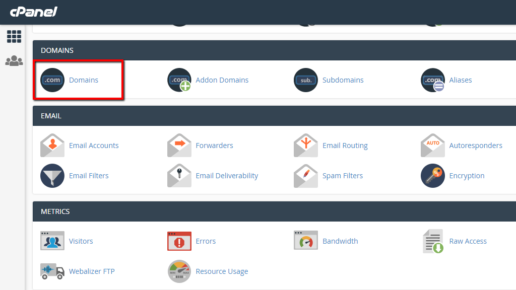 Accessing the Domains feature in cPanel