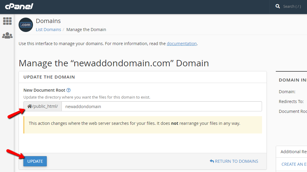 Change the document root of a domain name