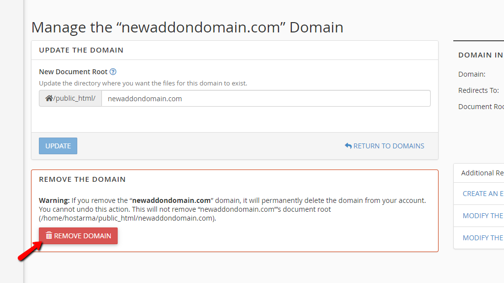 Removing a domain name from cPanel