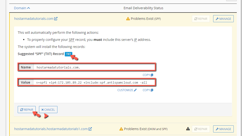 cPanel suggested DNS records