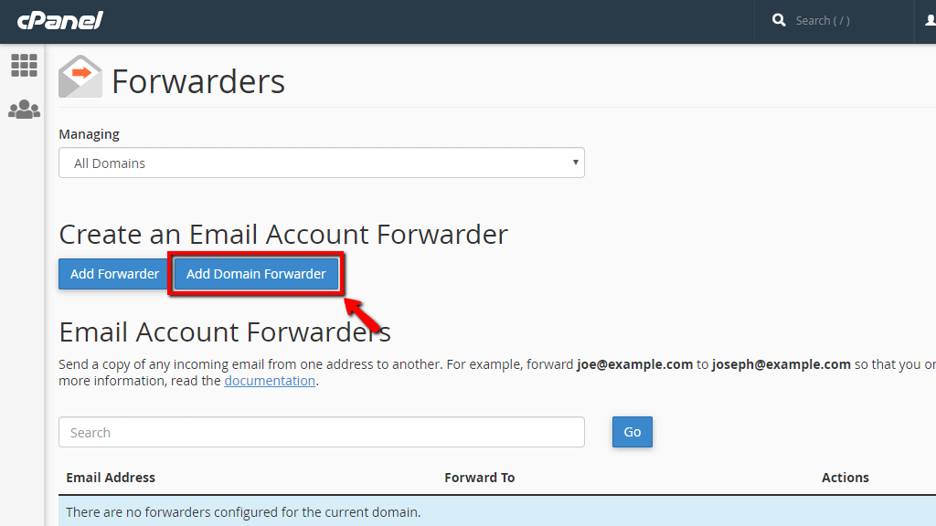 Add new Domain Forwarder in cPanel