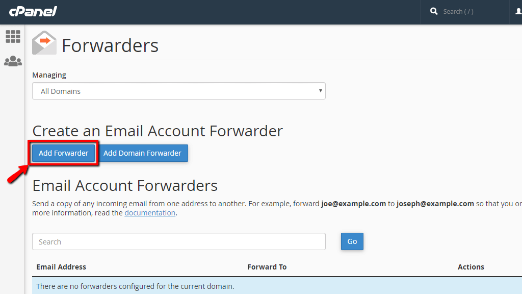 Add a new Email Forwarder in cPanel