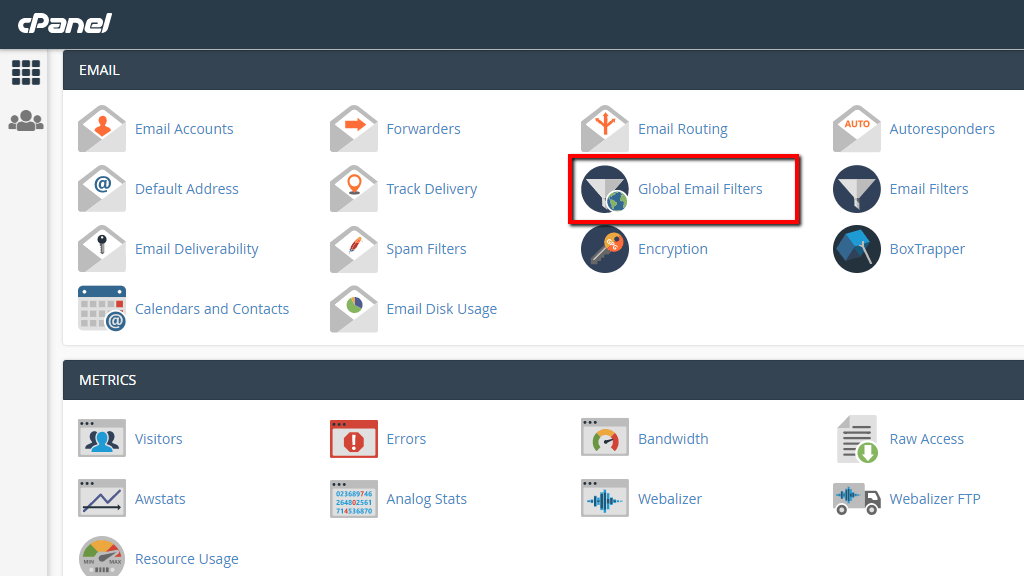 Accessing the Global Email Filters in cPanel