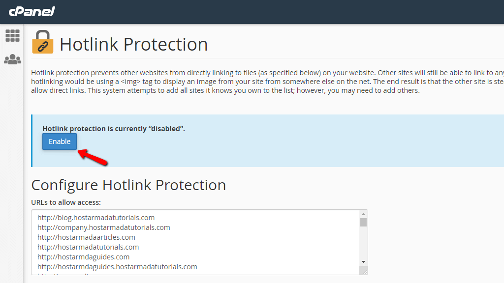 Enabling Hotlink Protection in cPanel