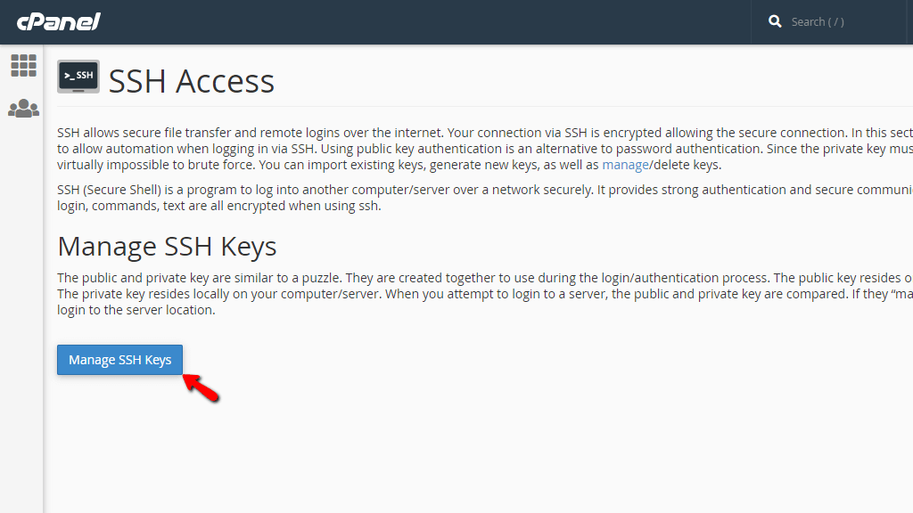Managing your SSH keys in cPanel
