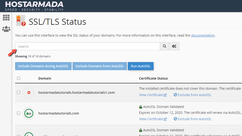 SSL/TLS Status feature Search tool