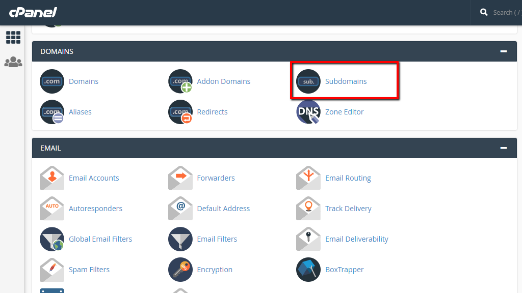 Accessing Subdomains in cPanel
