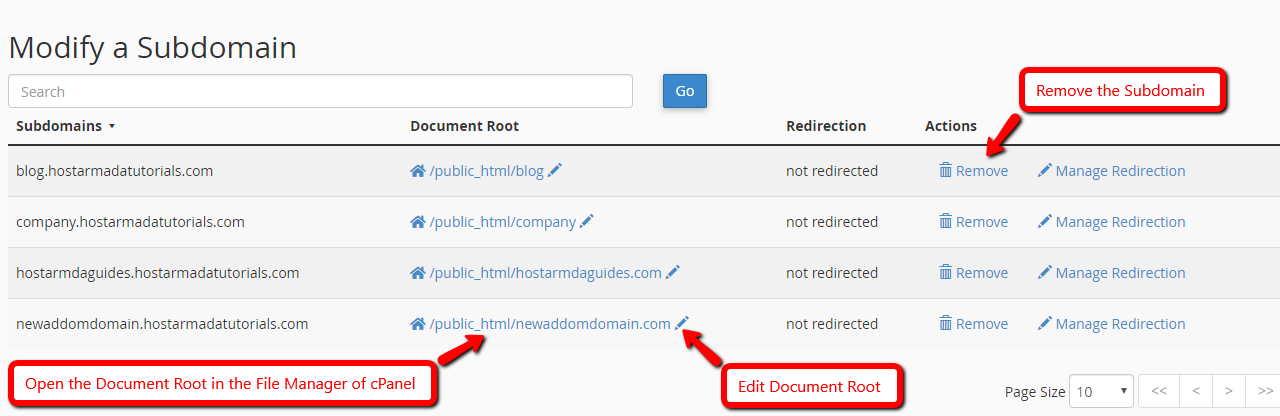 Manage Subdomains in cPanel