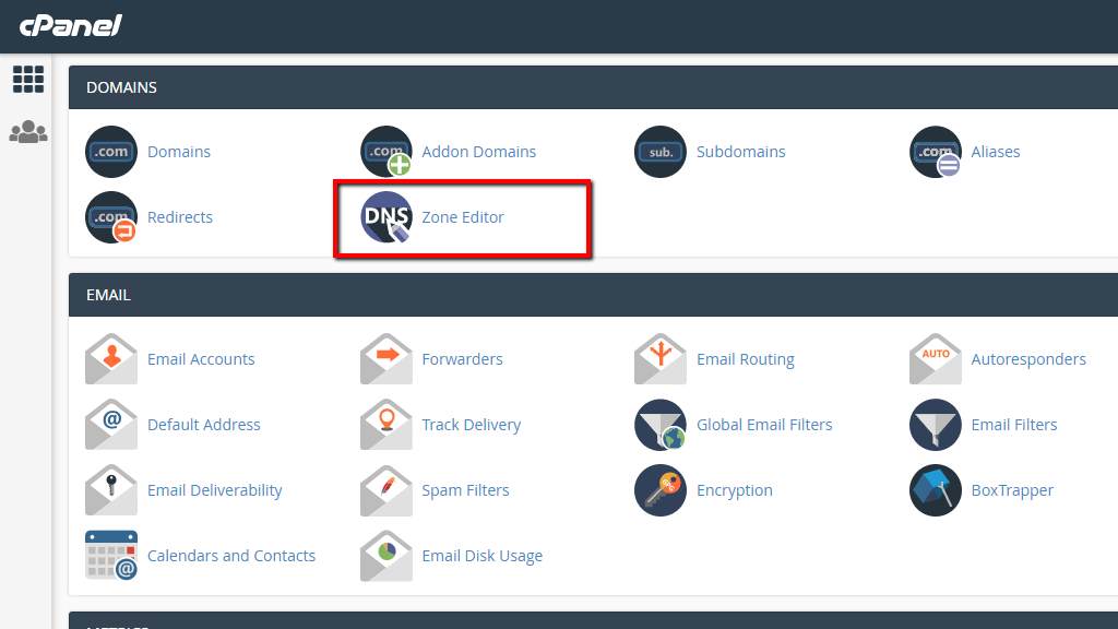 Access the Zone Editor feature in cPanel