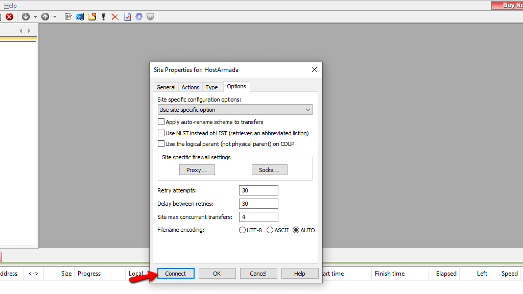Options tab settings