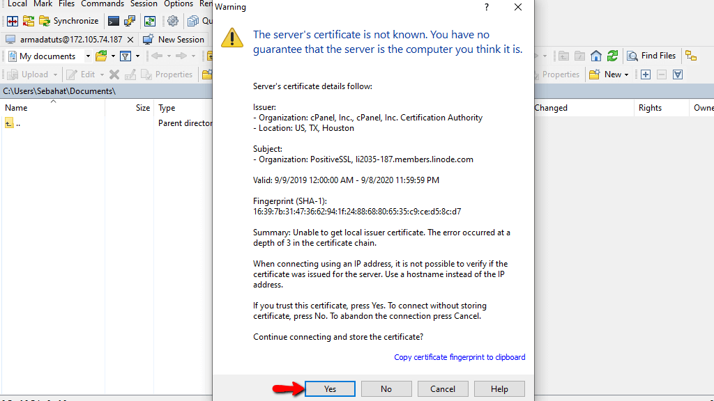 TLS security warning