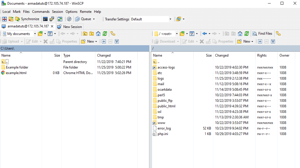 WinSCP successful connection