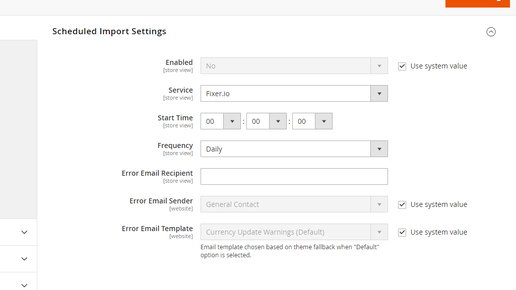 Scheduled Import Settings