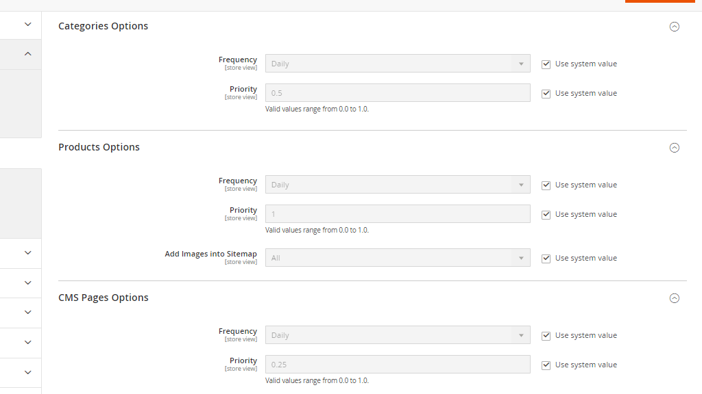 Sitemap Update Preferences