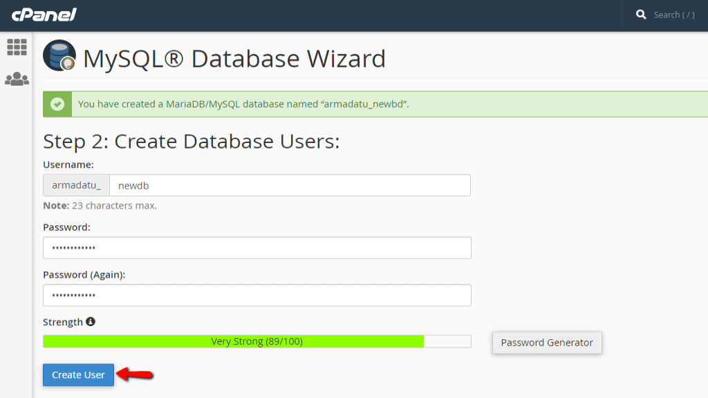 Creating the database user