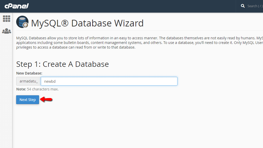 Entering the database name