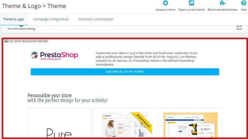 Live from PrestaShop Addons section overview