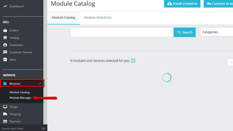 Accessing the Module Manager page