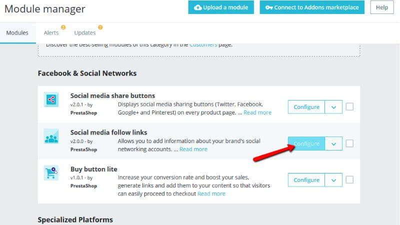 Accessing the Social media follow links page