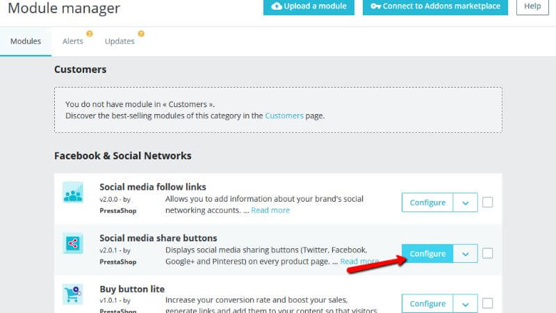 Accessing the Social media share buttons page