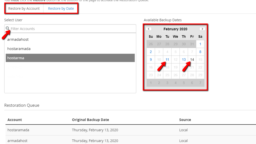 Selecting User and Backup Date