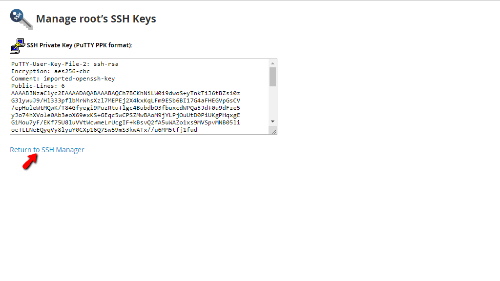 Returning to SSH Manager