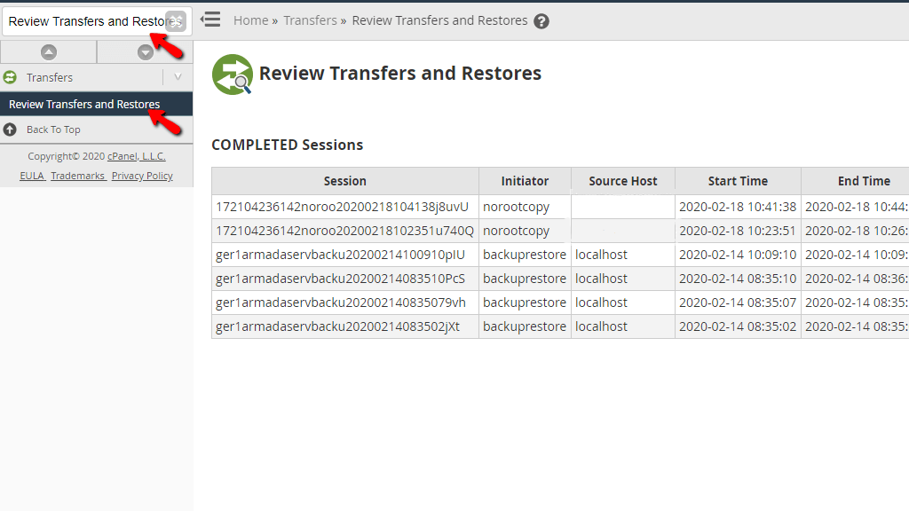 Accessing the Review Transfers and Restores feature