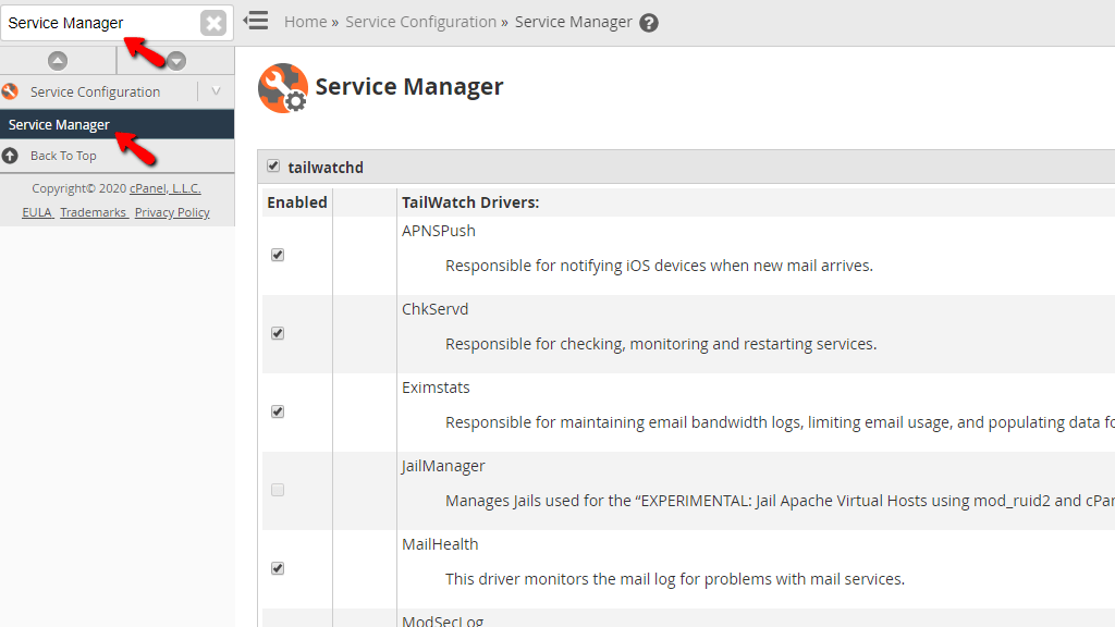 Accessing the Service Manager feature in WHM