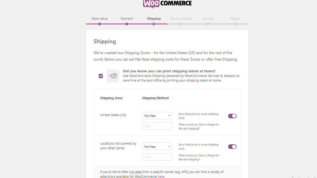 WooCommerce shipping page