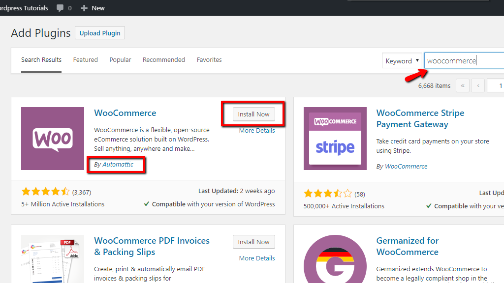 Finding and installing WooCommerce