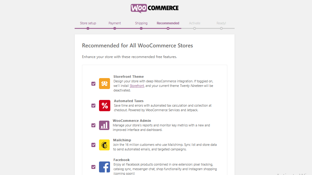WooCommerce recommended page