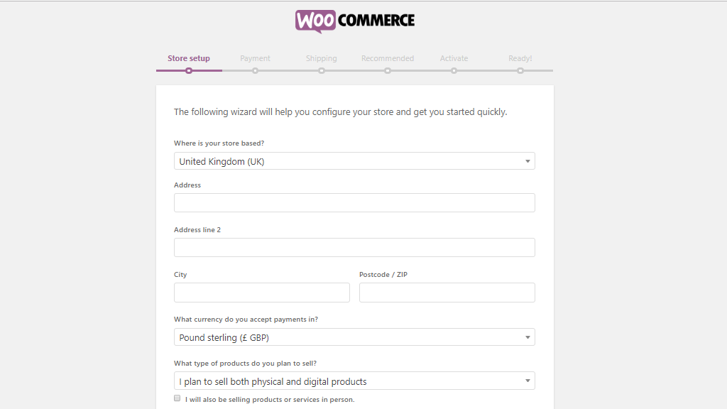 WooCommerce store setup page
