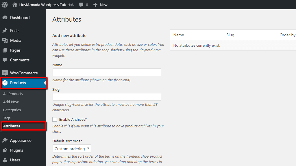 Accessing product attributes page