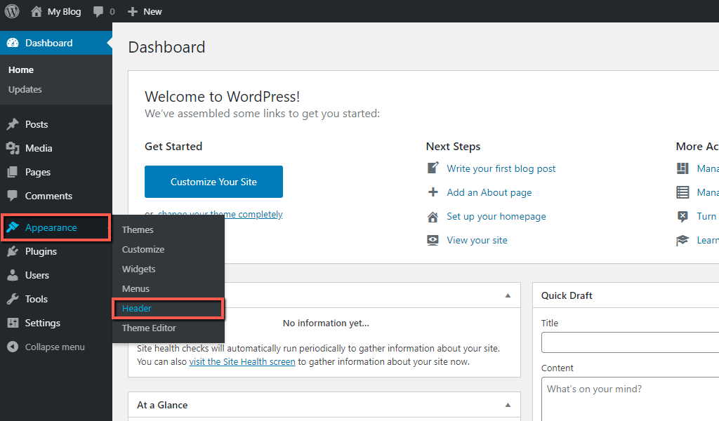 Access WordPress Header Customizer