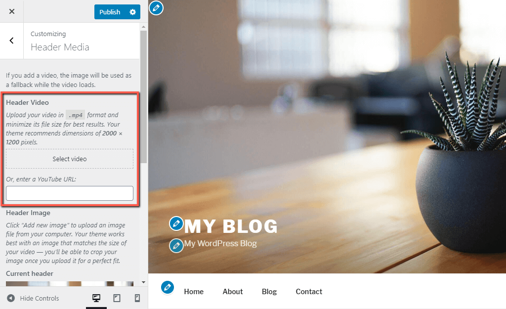 Upload or Embed WordPress Header Video