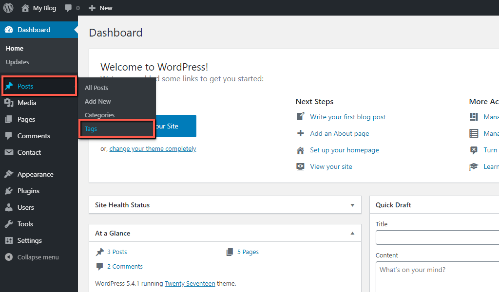 Access WordPress Tags Section