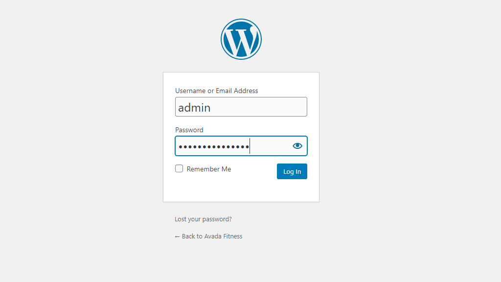 WordPress Admin Dashboard Login Page