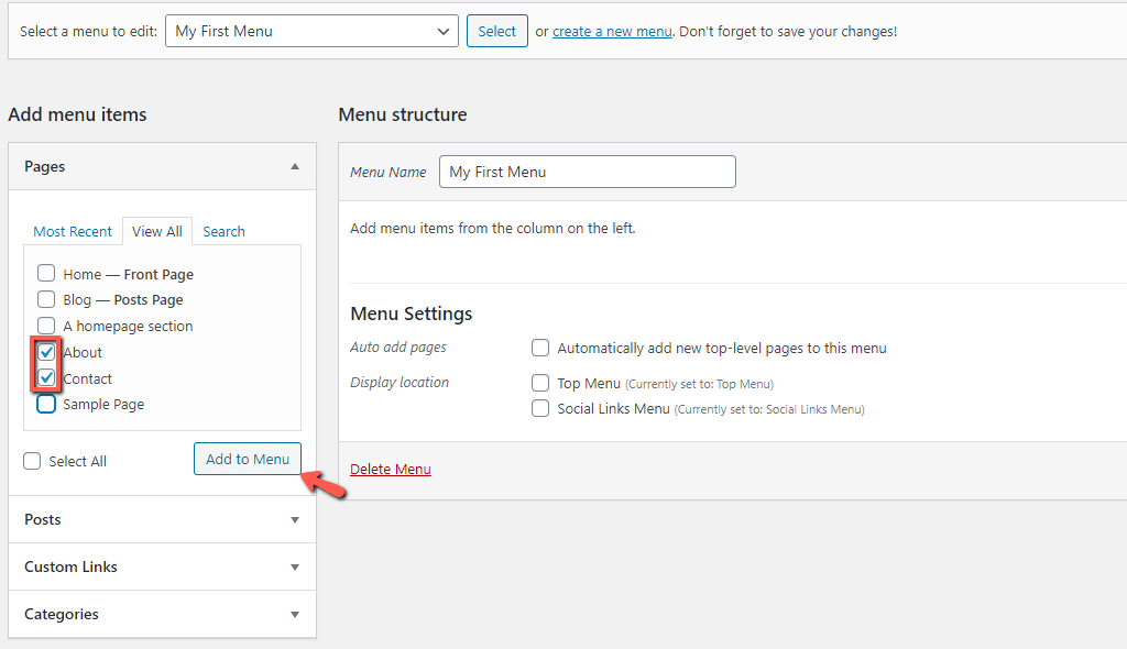 Select Pages to Add to a WordPress Menu