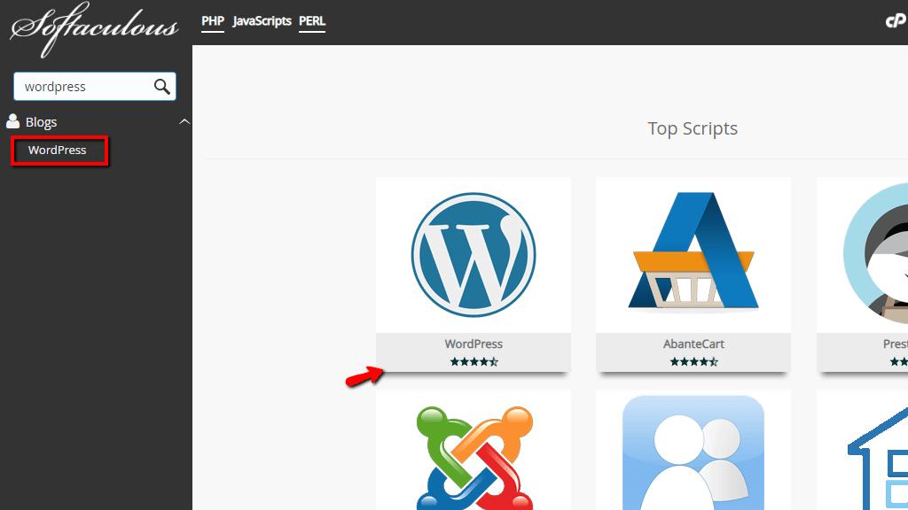 Selecting WordPress