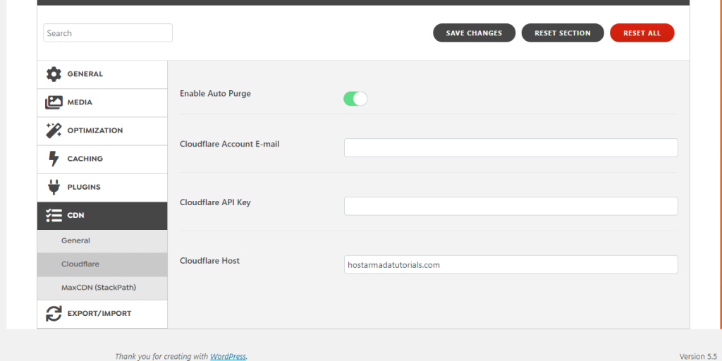 WordPress Swift Performance Plugin Cloudflare CDN Settings
