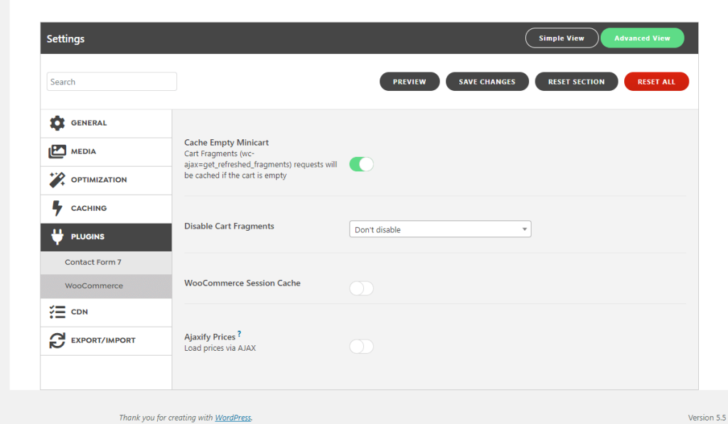 WordPress Swift Performance Plugin WooCommerce Settings